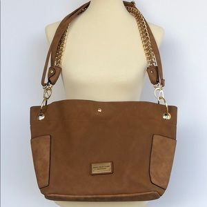 Andrew Marc tan and gold leather large tote